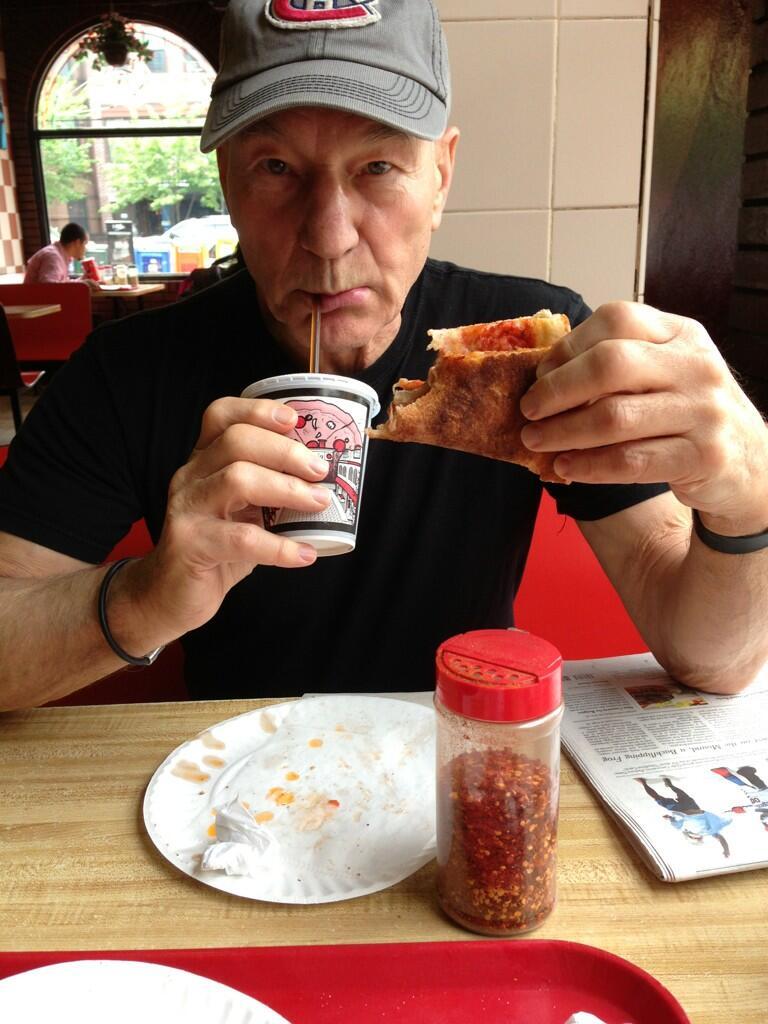 Patrick Stewart Eats Pizza